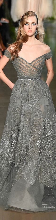 Elie Saab ~ Couture Off the Shoulder Evening Gown, Silver, Spring 2015