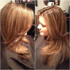 Light brown hair with caramel highlights