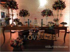 Mesa com decoração Vintage Rústica - Casamento