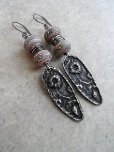 Double Vision ... Lampwork, Pewter and Sterling Silver Wire-Wrapped Floral, Boho, Victorian Earrings