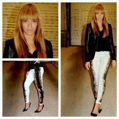 Bangs and printed Denim|Beyonce