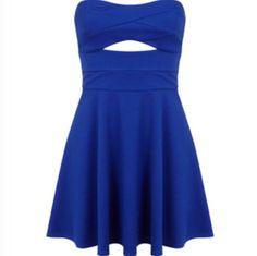 Navy blue dress with a knee high cut