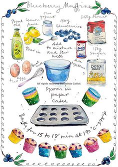 Art Print from an original ink and watercolour illustration: Blueberry and Lemon Muffin Recipe with full instructions! PLEASE NOTE: WATERMARK AT THE
