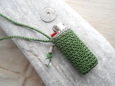Lighter Holder Necklace with Silver, green Turquoise & Murano Glass - crochet lighter case - unique gift for smokers