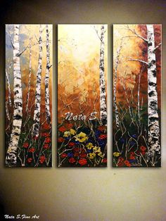Fairyland Forest   Landscape painting.Abstract Painting.Impasto.Palette Knife.Triptych.Sky,Flowers,Birch Trees Painting.Fall.Autumn.Fall Tree Painting.Modern Painting.Fine Art.Modern Wall Decor. New and in excellent condition. Directly from my studio.  size: 36 x 36 3 canvas - 36 x 12  x 1  MEDIUM: Acrylic  CANVAS: 1 Gallery Wrapped Canvas,the sides painted  A final coat of high quality varnish has been applied to protect the surface of this painting.  SIGNATURE: A signed Certificate Of…