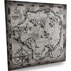 Zeckos Black and White Pirate Treasure Map Canvas Wall Hanging 71980 Pirate Treasure Maps, Map Canvas, Fantasy Map, Pirates, Vintage World Maps, Diagram, Felt, Black And White, Mermaids