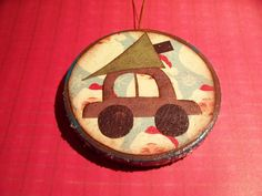 Adorable!—wooden Christmas Ornament—decoupaged picture of little car with xmas tree on top—A great DIY project.