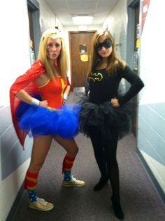 Me and my best friend as #WonderWoman and #Batgirl for #Halloween! #costumes