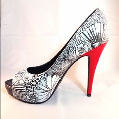 """🎉HP 8/19& 4/28 Doodle handpainted Leather Peeptoe 🎉Chosen as a Host Pick 8/19 & 4/28🎉 Fun doodles dance on these leather peep toes with red accented heels. Hidden platform peep-toe stiletto in hand painted calf leather.  *Slip On *4.5"""" heel,1"""" platform *Painted Calf leather *Leather footbed Fit Tips: *All of our heels have extra padding under the insole to cushion your foot Care: All of our shoes are 100% hand painted by our artists, and are sealed waterproof to prevent your design from…"""