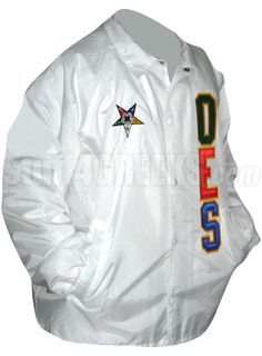 Order of the Eastern Star Line Jacket with Fatal Star and Letters, White  Item Id: PRE-XJ-OES-BASIC_LTR_FATAL_STAR_WHT  Price:  $79.00