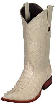 These Cowboy Boots look great with their inlay-ed shaft, Pointy Toe and Walking heel. Fully hand crafted. Features Genuine Caiman Tail Alligator Vamp & Leather uppers....