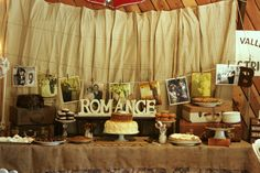 Just love this idea for a desert table...a good way to involve local guests is to make their famous dessert, serve them on beautiful stands at different levels and hang family wedding pictures in the back. SO COOL...and cheap.