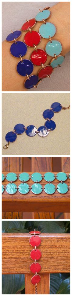 Torch-Fired Enamel Penny Bracelet #jewelry #reuse #upcycle - Pulsera de monedas recicladas