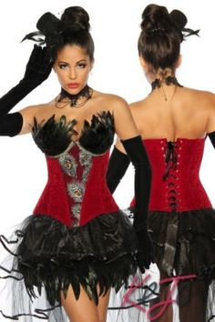 Sexy-Burlesque-Corsage-rot-lila-oder-blau-mit-Federn-Pfau-S-M-L-XL-XXL-Korsett
