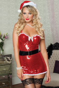 Naughty and Nice Red Sequin Santa Outfit
