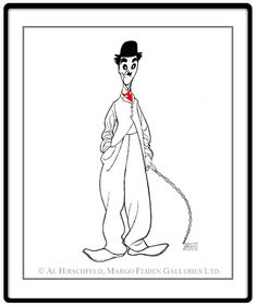"Charlie Chaplin in The Little Tramp: Hand signed by Al Hirschfeld  Limited-Edition Lithograph  Edition Size: 150.  27"" x 21"""