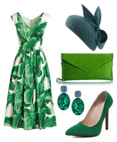 """""""Glorious Goodwood: green"""" by laurenharty ❤ liked on Polyvore featuring WithChic, Swarovski and Dolce&Gabbana"""