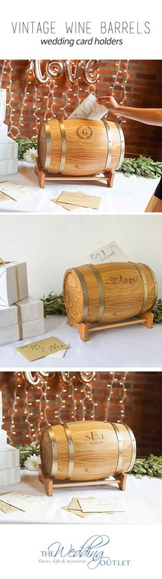 Personalized Rustic Wine Barrel Wedding Card Holders will catch your guests eye and will definitely make a statement at your welcome table. See more styles.