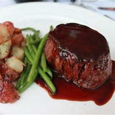 Filet Mignon with Rich Balsamic Glaze Recipe Main Dishes with filet mignon steaks, ground black pepper, salt, balsamic vinegar, dry red wine