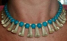 Vintage Cleopartra Egyptian Revival Choker Bib Necklace