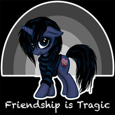 The Emocorn - Friendship is Tragic! T-shirt from Shirt Happens & Signal Fire Studios. Available in Men's & Women's sizes!