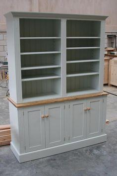 Handmade bespoke Farrow and Ball Parma Grey Bookcase. Grey Furniture, Bespoke Furniture, Pantry Room, Farrow Ball, Parma, Bookcase, Lounge, Shelves, Country
