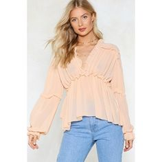 Nasty Gal Ruffle Riders Blouse ($30) ❤ liked on Polyvore featuring tops, blouses, nude, ruffle v neck blouse, v neck ruffle top, flutter blouse, frilly blouse and ruffle top