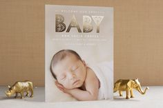 lacy paper foil-pressed birth announcement cards