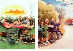 I wanted to share some of my favorite postcards to receive - the Finnish Grannies. These are postcards which come from the artwork of Inge Look from Finland, and they portray two elderly ladies who have a zest for life and don't really give a rip about what other people think of their actions. S