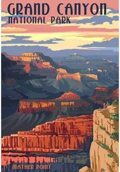 Poster: Grand Canyon National Park - Mather Point, 19x13in.