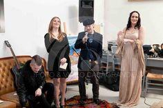 """Da Sinistra verso destra: Erik Strauss, Anna Bizzotto, Massimo Casagrande e Lisa Busatto. Presentazione della mostra """"Lei ha caldo al culo"""", 2014"""