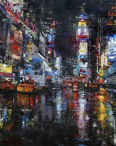 Times Square Rain by Mark Lague Oil ~ 48 x 36 Abstract Oil, Abstract Sculpture, Architecture Design, Cityscape Art, City Painting, Simple Acrylic Paintings, Political Art, A Level Art, Landscape Art