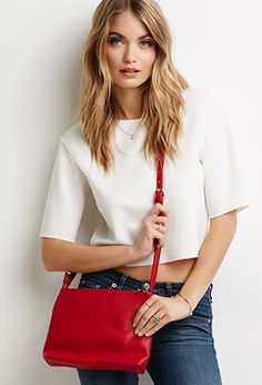 Pebbled Faux Leather Crossbody   Forever 21 - 1000077747