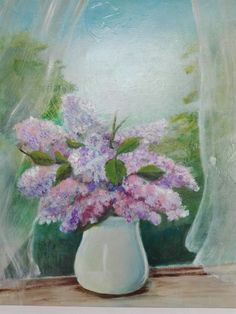 Vase with purple flowers 60x60cmtrs