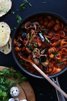 One Pot Vegan Eggplant Pasta
