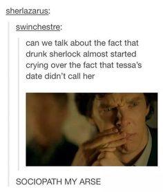 """""""Sherlock crying when he's drunk. No way is he a sociopath. Sherlock Holmes 3, Sherlock Fandom, Sherlock Quotes, Sherlock John, Jim Moriarty, Benedict Cumberbatch Sherlock, Harry Potter, Arthur Conan Doyle, Funny"""