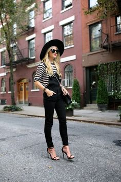 Black overalls with black & white striped shirt & black heels, purse & hat | Atlantic-Pacific
