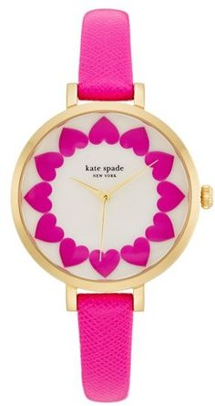 Kate Spade New York 'metro' Heart Dial Leather Strap Watch, 34mm