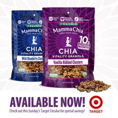 Find our NEW Chia Granola Clusters at Target! These tasty granola clusters are certified organic, gluten-free and packed with 10g of protein (soy free & dairy free!) and 1500mg of Omega-3s per serving! Find Mamma Chia at your nearest Target at www.MammaChia.com/Find-Us/