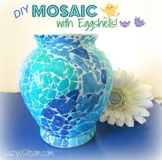 "Creating a Mosaic Vase With Eggshells! - I designed a mosaic vase made from egg shells! I like to call this the ""poor man"" mosaic Egg Crafts, Arts And Crafts, Eggshell Mosaic, Mosaic Vase, Creative Workshop, Egg Art, Shell Crafts, Bottle Art, Egg Shells"