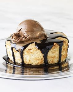 Brown Sugar Angel Food Cakes with Hot Fudge Sauce and Chocolate Ice Cream