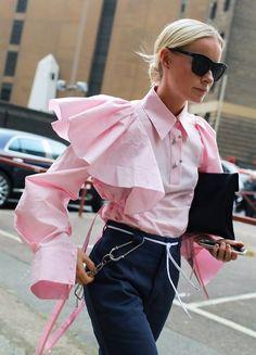 pink flared poplin shirt