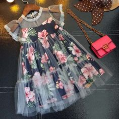 Floral Prints Fly Sleeve Dress