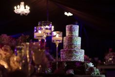 Stained-Glass Wedding Cake    Photography: Maloman Studios   Read More:  http://www.insideweddings.com/weddings/bride-wears-black-wedding-dress-for-her-miami-florida-wedding/567/