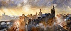 "The Commute- Edinburgh by Iain Stewart Watercolor ~ 9"" x 20"""