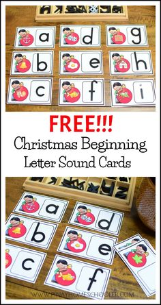 FREE Christmas Beginning Letter Sound Cards #preschool #literacy #homeschool #montessori #free #freebie #centers #kindergarten