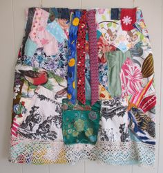 collage clothing skirt -Wearable Folk Art  - Eclectic Eccentric Artsy Artisan -- mybonny by MyBonny on Etsy https://www.etsy.com/listing/195587836/collage-clothing-skirt-wearable-folk-art
