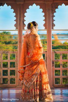 Portrait of indian bride in her wedding lengha.maharaniweddi… Portrait of indian bride in her wedding lengha. Indian Wedding Photos, Indian Wedding Outfits, Indian Outfits, Wedding Lenghas, Wedding Bride, Tulle Wedding Decorations, Orange Lehenga, Bollywood, Indian Wear