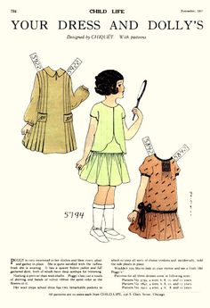 1927  Paper Doll Fashion. Great for Little Lass Dress Patterns