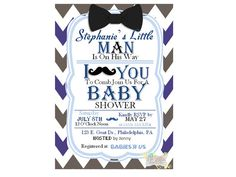 Mustache & Bow Tie Baby Shower Invitation by NaVellaPartyBoutique,